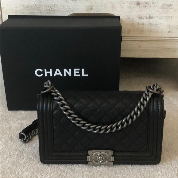 03c6dc221a72 CHANEL Bags | Medium Boy Bag Black Caviar Leather | Poshmark